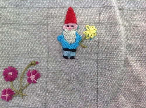 Bending Pins Embroidered Gnome
