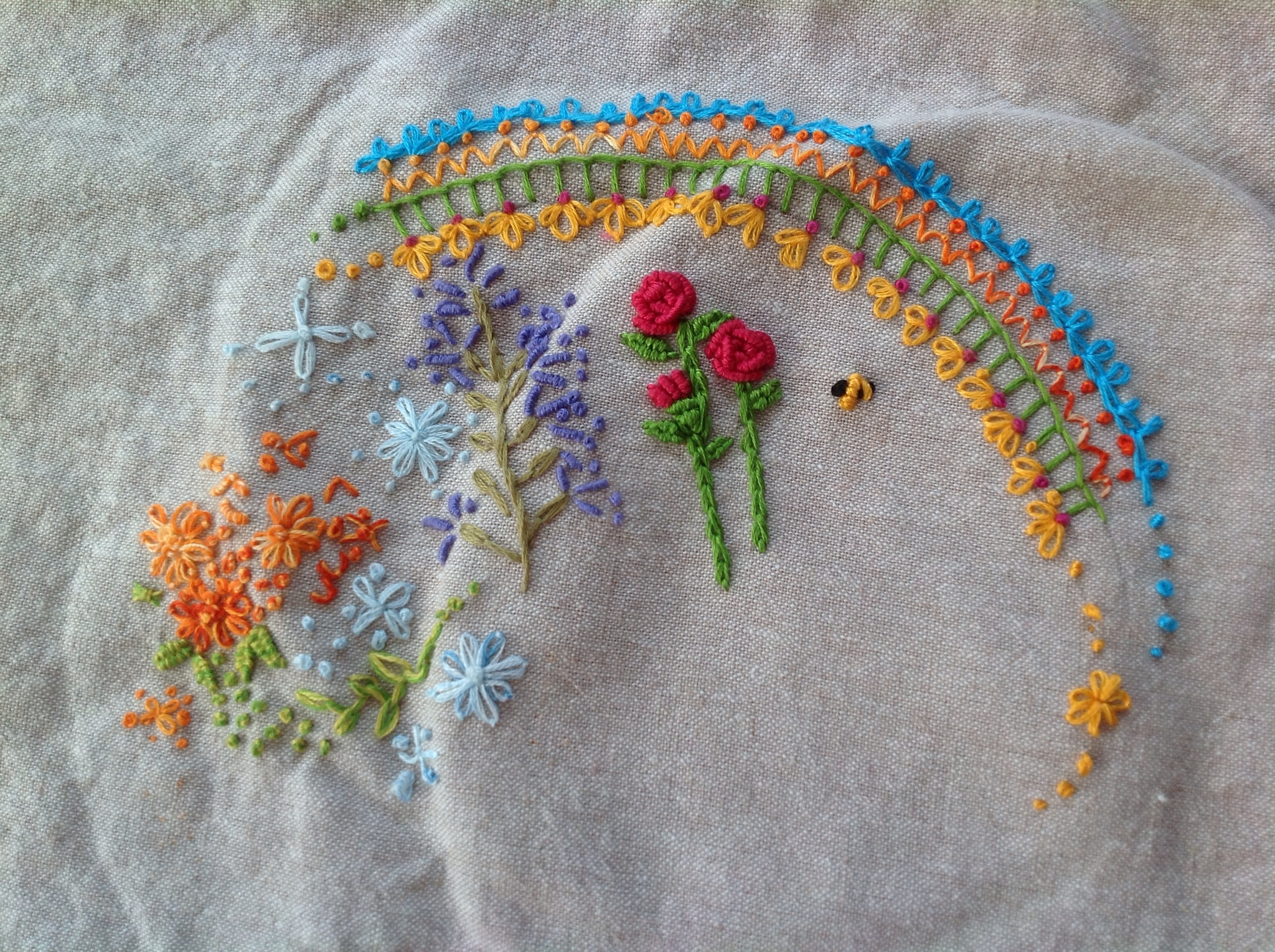 bending pins embroidered garden - Embroidery Garden