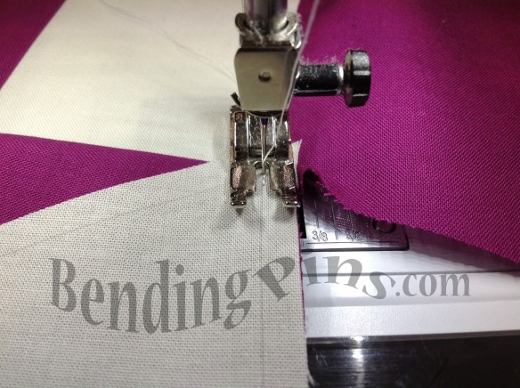 Sew the first seam from the center out to the edge.